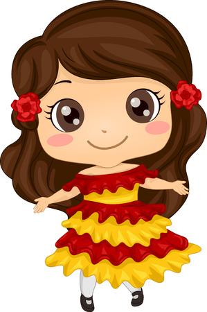 Ilustración con una chica que lleva un traje mexicano Vectores