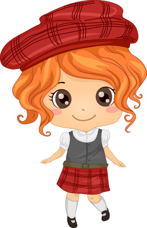 cosplay: Illustration Featuring a Girl Wearing a Scottish Costume Illustration
