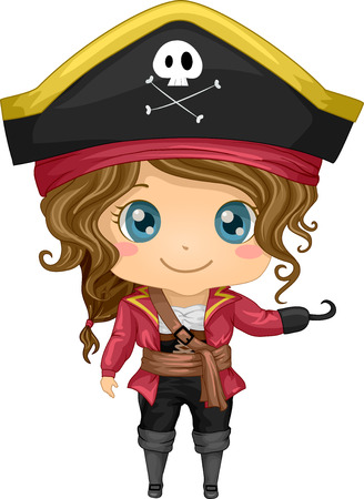 Illustration Featuring a Girl Wearing a Pirate Costume Vector