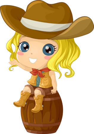 Illustration Featuring a Girl Wearing a Cowgirl Costume Illustration