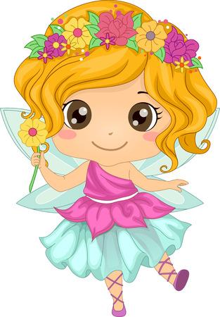 hadas caricatura: Ilustración con una chica con un traje de hada Vectores