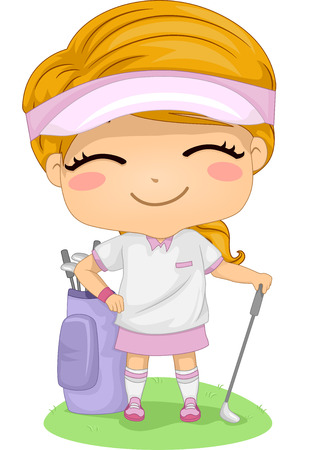 Illustration Featuring a Little Female Golfer Vector