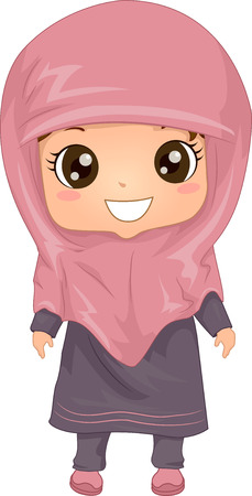 child girl: Illustration Featuring a Woman Wearing a Muslim Dress