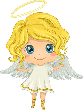 Illustration Featuring a Little Girl Dressed as an Angel Ilustracja