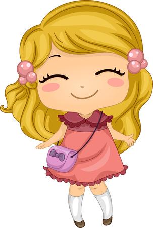 Ilustración con una niña sonriente Ampliamente Foto de archivo - 33001558
