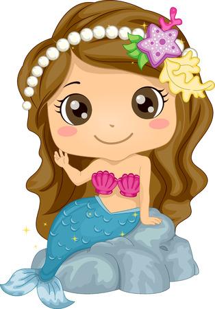 Illustration, die eine Mädchen tragen eine Meerjungfrau Kostüm Standard-Bild - 33001559