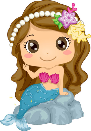 Illustration Featuring a Girl Wearing a Mermaid Costume