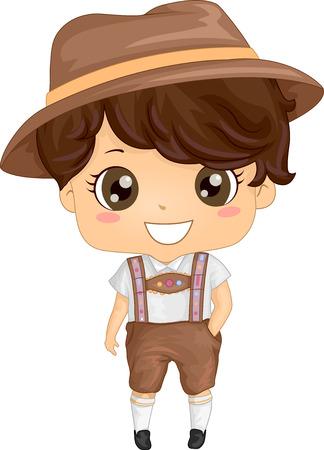 Illustration, die eine Junge, der einen deutschen Kostüm Illustration