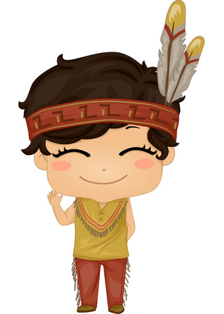 cosplay: Illustration Featuring a Boy Wearing a Native American Costume Illustration