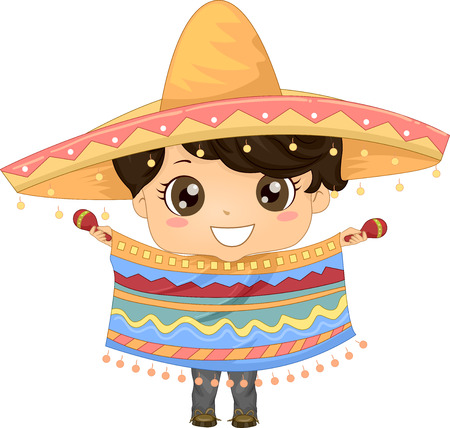 Illustration Featuring a Boy Wearing a Mexican Costume Foto de archivo - 33001599
