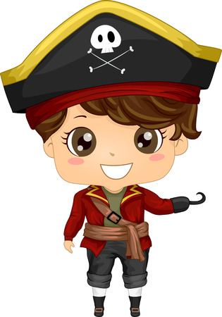 Illustration Featuring a Boy Wearing a Pirate Costume Vector