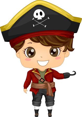 Ilustração que caracteriza um menino vestindo um traje do pirata