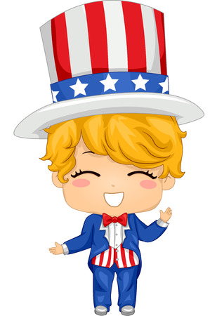 Illustration Featuring a Boy Wearing a Fourth of July Inspired Costume Vector