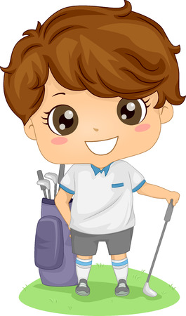 Illustration Featuring a Little Male Golfer Vector