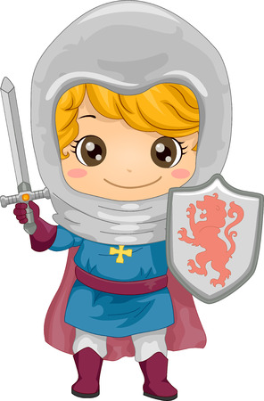 Illustration Featuring a Little Boy Dressed as a Knight Vector
