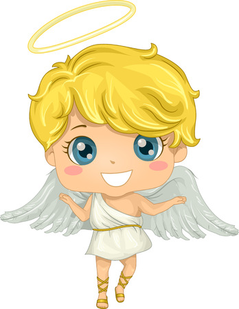 Illustration Featuring a Little Boy Dressed as an Angel Иллюстрация