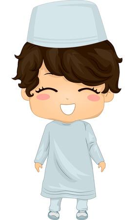 traje: Ilustração que caracteriza um menino vestindo roupas muçulmano
