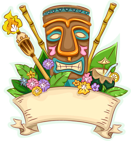 Banner Illustration Featuring a Tiki Surrounded by Hawaii-Related Items 矢量图像