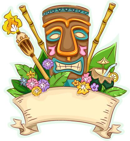 hawaiana: Ilustración Banner Con un Tiki Rodeado de artículos relacionados con el Hawaii Vectores