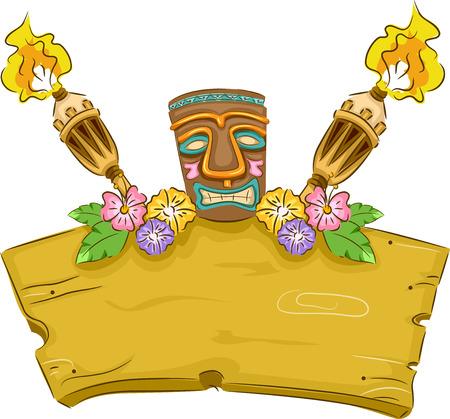 ハワイ関連商品に囲まれてティキの特徴バナー イラスト
