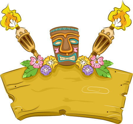 Banner Illustration Featuring a Tiki Surrounded by Hawaii-Related Items Иллюстрация