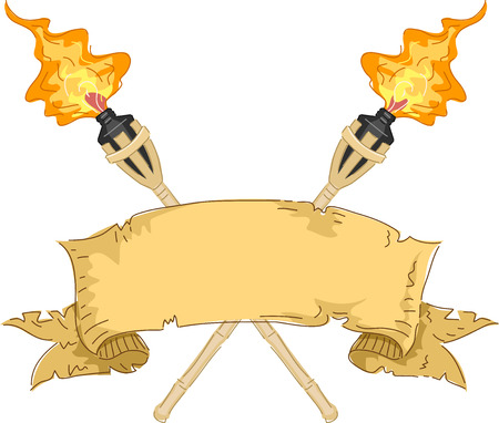 torches: Banner Illustration Featuring a Strip of Paper Flanked by Tiki Torches