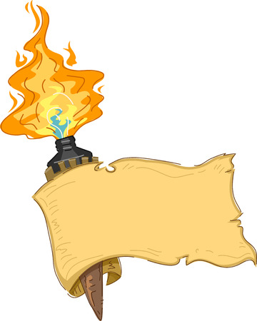 torch flame: Banner Illustration Featuring a Tiki Torch