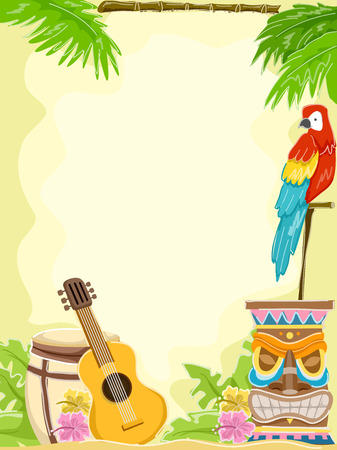 hawaiian culture: Background Illustration Featuring Hawaii-Related Items