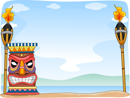 hawaiian tiki: Background Illustration Featuring Hawaii-Related Items