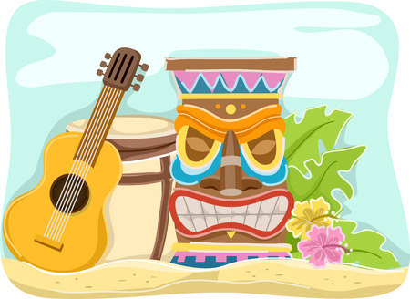 Illustration Featuring Items Typically Associated with Hawaii Vector