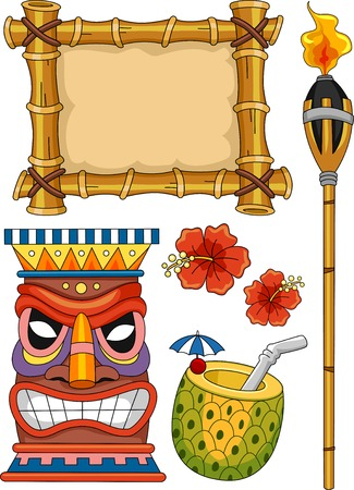 하와이 티키 디자인 요소 일러스트