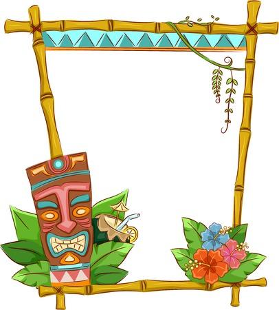 hibisco: Marco de Tiki hawaiano