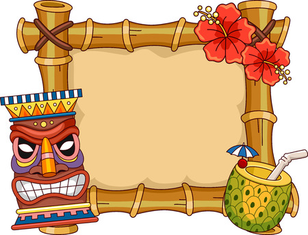 hawaiian tiki: Frame Illustration Featuring Hawaii Related Items