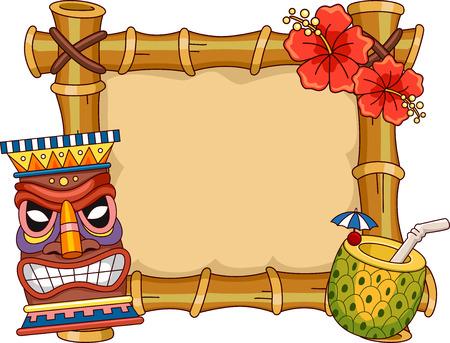 Ilustración marco con artículos Hawai Relacionados