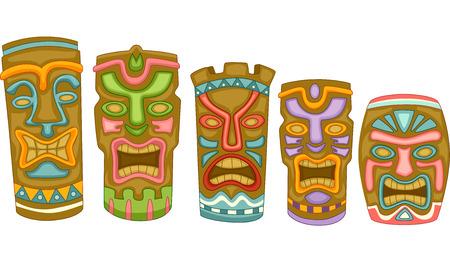 다채로운 티키 마스크를 갖춘 일러스트 레이션