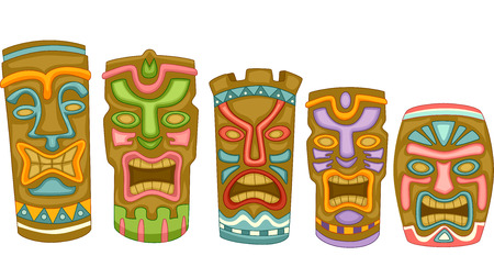hawaiian culture: Illustration Featuring Colorful Tiki Masks