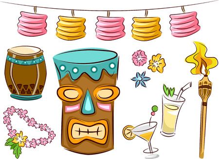Illustration Featuring Items Commonly Seen in Tiki Parties Vector