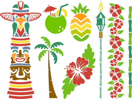 tiki: Illustration Featuring Stencils of Hawaii Related Items Illustration