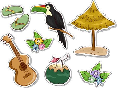 ukulele: Illustration Featuring Ready to Print Stickers with a Hawaiian Theme Illustration