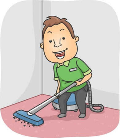 blue collar: Illustration Featuring a Man Cleaning the Carpet