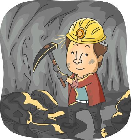 coal mine: Illustration Featuring a Man Mining Coal Illustration