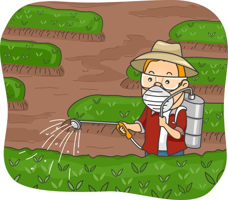 Illustration Featuring a Man Spraying Pesticide on His Plants Vector