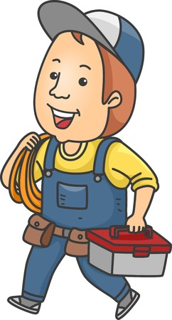 odd jobs: Illustration Featuring a Handyman Carrying a Tool Kit and Some Rope