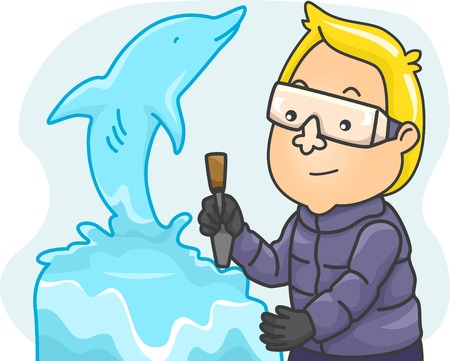 sculpting: Illustration Featuring a Man Making an Ice Sculpture