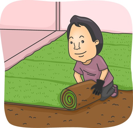 sod: Illustration Featuring a Man Rolling Out a Strip of Sod Illustration