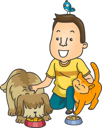 dog sitter: Illustration Featuring a Man Working as a Pet Sitter