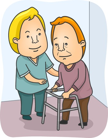 Illustration Featuring a Caregiving Assisting an Old Man Vectores