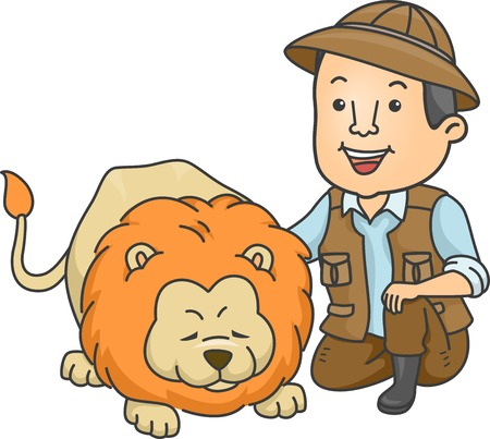 caretaker: Illustration of a Safari Caretaker Petting a Lion