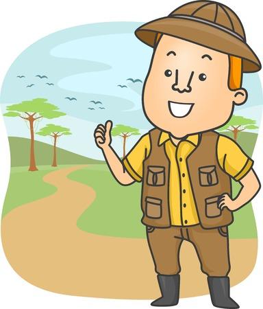 Illustration Featuring a Safari Tour Guide