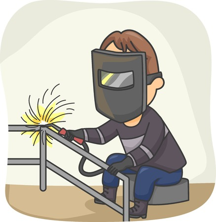 safety gear: Illustration Featuring a Welder at Work